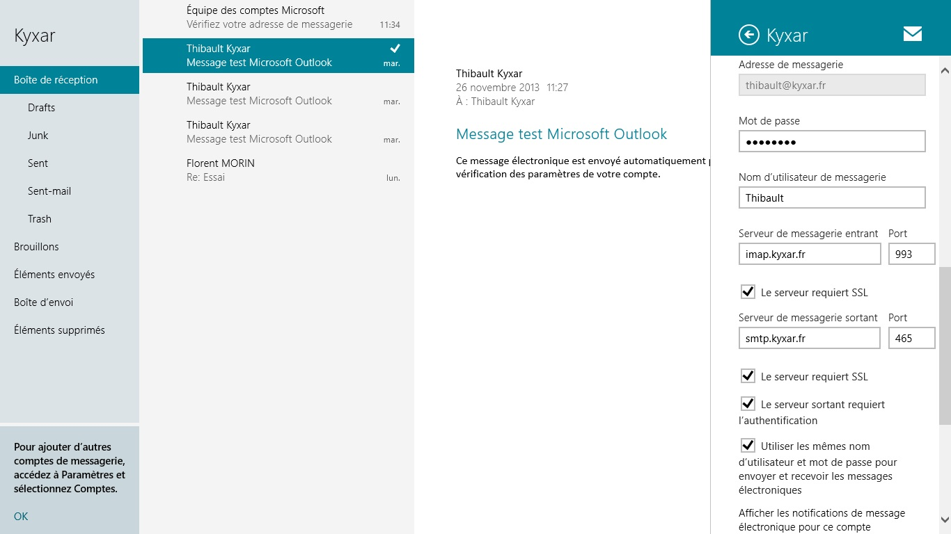 Courrier windows 8 : Configuration d'un compte de messagerie