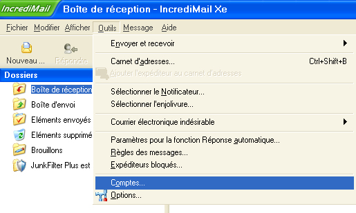 IncrediMail : Configuration d'un compte de messagerie