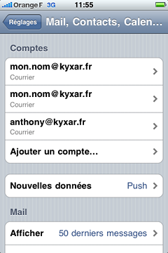 Apple iPhone : Configuration d'un compte de messagerie