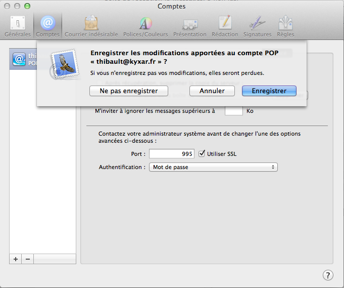Mail pour MacBook Air Os X d'Apple : Configuration d'un compte de messagerie
