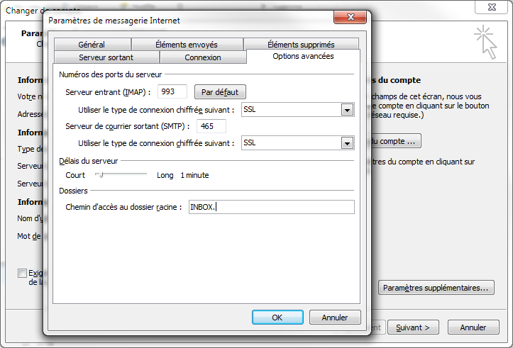 outlook 2010 : Configuration d'un compte de messagerie