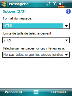Microsoft Windows mobile 6 : Configuration d'un compte de messagerie