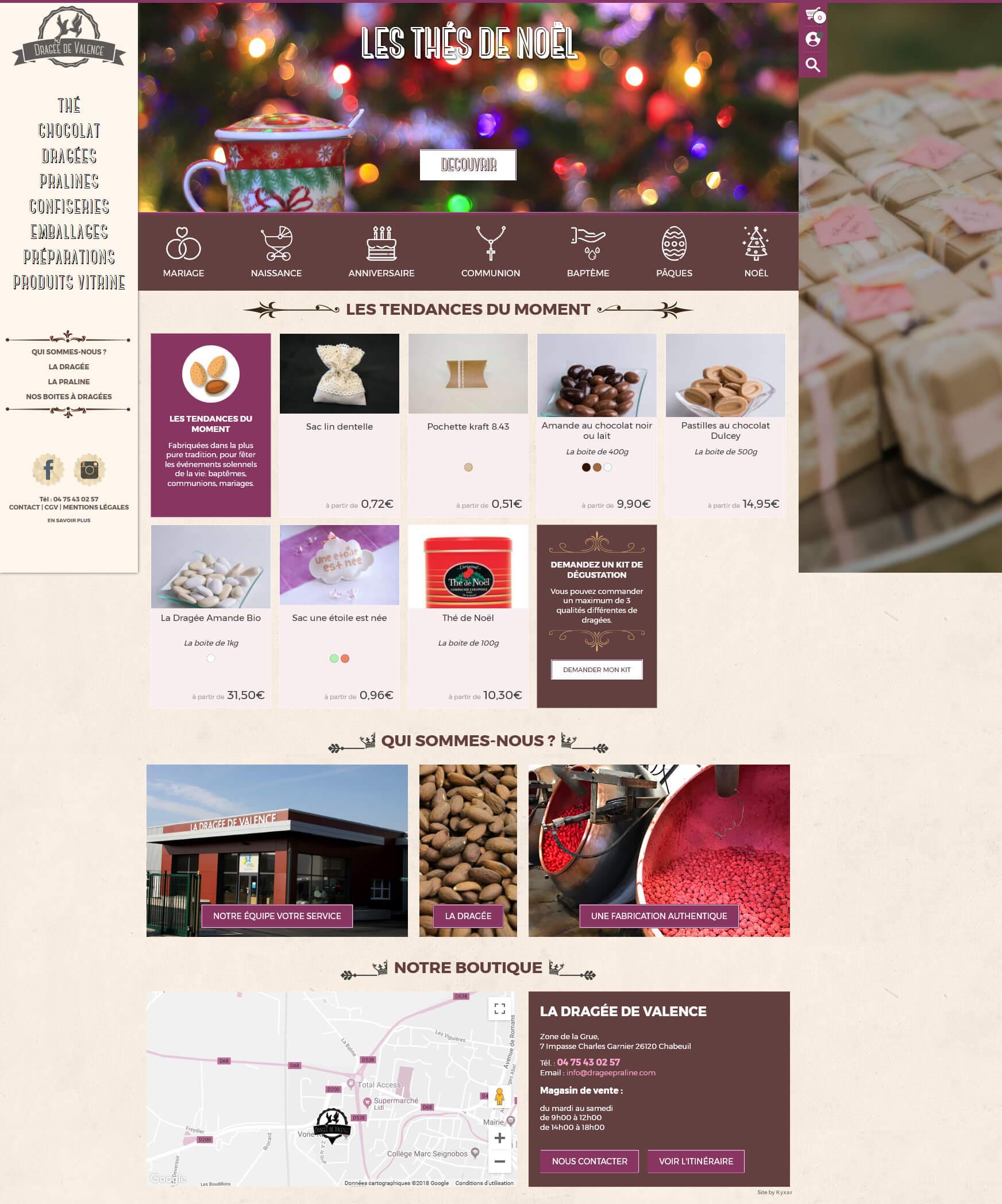 d8ce13f1ecb Boutique 2018.  Site web ecommerce La Dragée de Valence ...