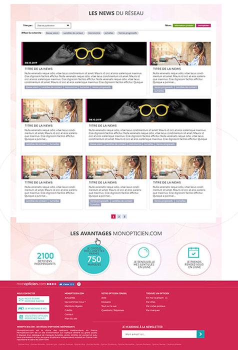 Maquettage de la page actualités - MonOpticien.com